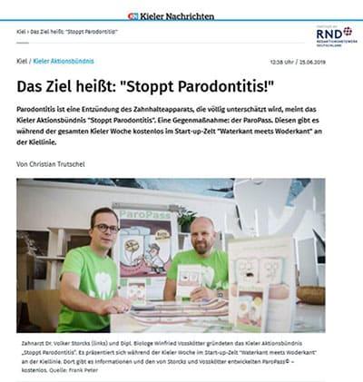 Die Gründer Winfried Vosskötter und Dr. Volker Storcks, Kieler Nachrichten