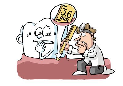 Comic-Zahn, Zahnfleischtaschen, Messung